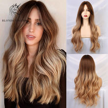 Blonde Unicorn Synthetic Natural Wave Long Hair Wigs with Side Bangs Dark Root Ombre Brown Party Wig for White Women 8 colors(China)