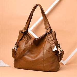 Image 2 - Sacos de Mão das senhoras Saco Bolsa 2019 Estilo Vintage Mulheres Bolsas de Couro bolsas de luxo mulheres sacos Designer de Grande Capacidade Sacola