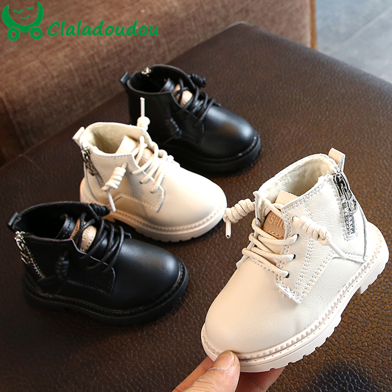 Claladoudou 12-14cm Brand Pu Waterproof Winter Baby Boots Black Beige Side Zip Infant Boots For 0-2Years Boy Winter Shoes Baby