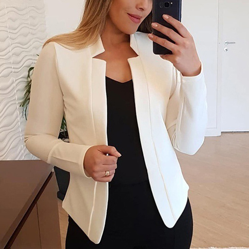 Autumn&Winter New Fashion Short Coat Women Solid Color Short Long Sleeve OL Style Suit Blazers Coat Long Sleeve Casual Slim