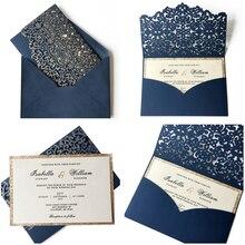 Navy blue Wedding Invitations Laser Cut Invitation Cards Pocket With Gold liner - Set of 50pcs