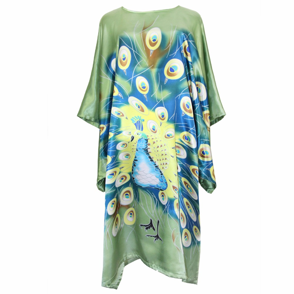 Green Female Robe Casual Bathrobe Nightwear Rayon Sexy Sleepwear Peacock Nightgown Women Casual Short Bath Gown Plus Size Kaftan