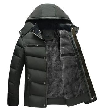New Men Jacket Coats Thicken Fur Fleece Warm Winter Windproof Jackets Casual Mens Down Parka Hooded Outwear  Jacket