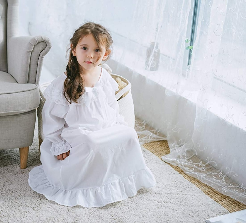 Baby Girl Clothes Princess Nightgown Long Sleeve Sleep Shirts Nightshirts Pajamas Christmas Dress Sleepwear kids for 3-12 Years (2)