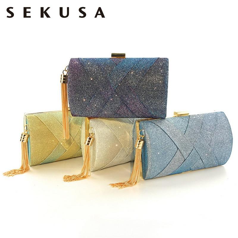 SEKUSA Satin Crossbody Handbags Tassel Evening Bags Sequined Female Luxury Criss-cross Clutches Women Bags For 2019 Purse