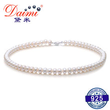 DMRU009 6-7MM Natural Freshwater Pearl Necklace Silver 925 Jewelry Necklace For Women(China)