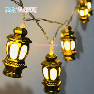 Islamic Eid Ramadan Lantern Lights String Garland Muslim Golden Lanterns Fairy Lights Decor for Home Ramadan Party Supplies(China)