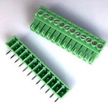 3000 Set 3.5 Mm Pitch 12 Pin Schroef Pcb Board Vrouwelijke Blokaansluiting Green Uitbreidbare Type Hoek Plug in Terminal Strip