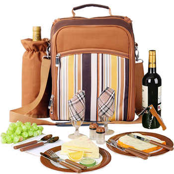 Portable camping picnic bag with cutlery refrigerator bag cubiertos picnic set for 2 travel backpack cooler ice bags outdoor - DISCOUNT ITEM  60% OFF All Category