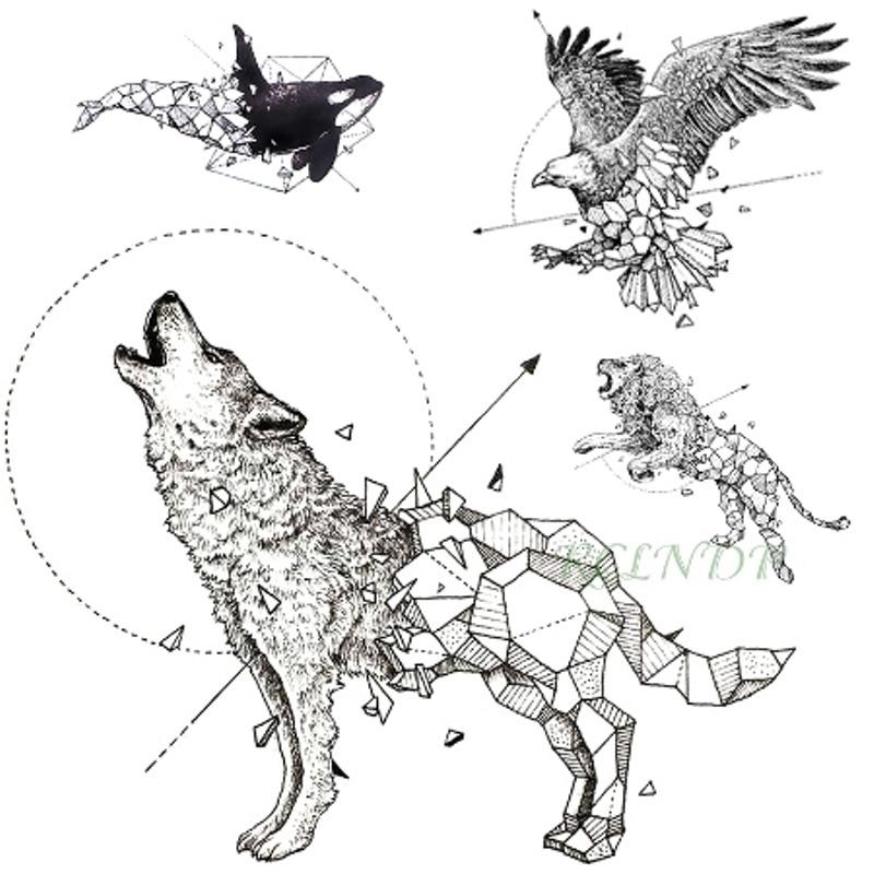 Waterproof Temporary Tattoo Fox Wolf Wolves Whale Owl Deer Buck Lion Hawk Tato Flash Tatoo Fake Tatto For Girl Women Men