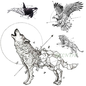 Waterproof Temporary Tattoo fox wolf wolves whale owl deer buck lion hawk tato flash tatoo fake tatto for girl women men