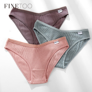 FINETOO Women Cotton Panties Fashion V Waist Underpants Sexy Girls Briefs M-XL Low-Rise Ladies Underwear Women's Lingerie 2020