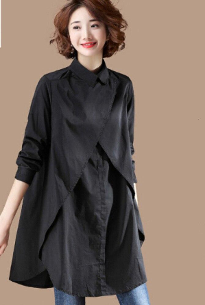 Noir Chic début automne chemise à manches longues longue une grosse soeur plus jeune 2019 noir blouse femmes dames hauts et chemisiers chemise