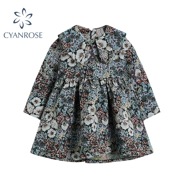 Autumn Vintage Floral Printing Long Sleeve Women Dress Korean Peter Pan Collar Cute Ladies High Waist Loose A-Line Dress Female 1