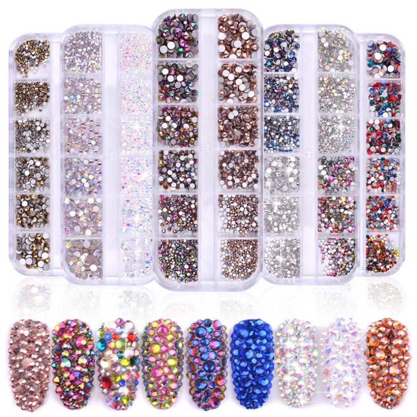 1 Box Multi Size Glass Nail Rhinestones Mixed Colors Flat-back AB Crystal Strass 3D Charm Gems DIY Manicure Nail Art Decorations title=
