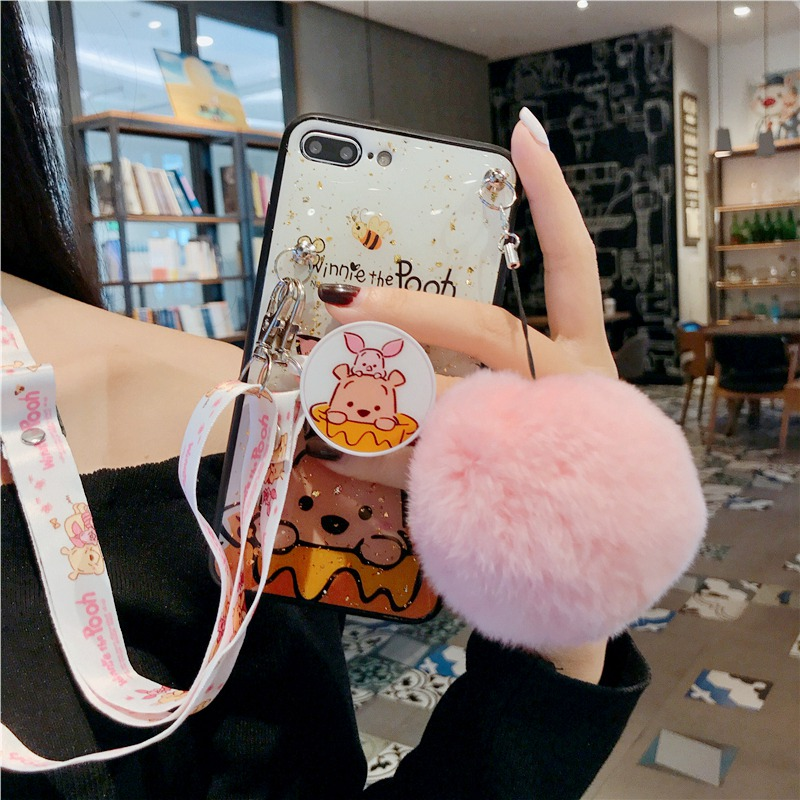 Winnie the Pooh mobile <font><b>phone</b></font> <font><b>case</b></font> For <font><b>samsung</b></font> Galaxy S10 <font><b>S9</b></font> S8 <font><b>Plus</b></font> S10e Note 10 9 8 Pro <font><b>Anime</b></font> folding stand <font><b>phone</b></font> back cover image