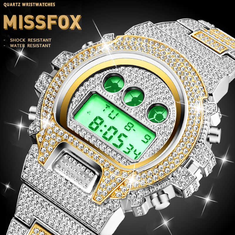 Vigilanza degli uomini Multifunzione Digitale Dropshipping MISSFOX G Stile Shock di Sport Orologi di Allarme Luminoso Orologio di Diamanti In Oro Orologi Da Polso