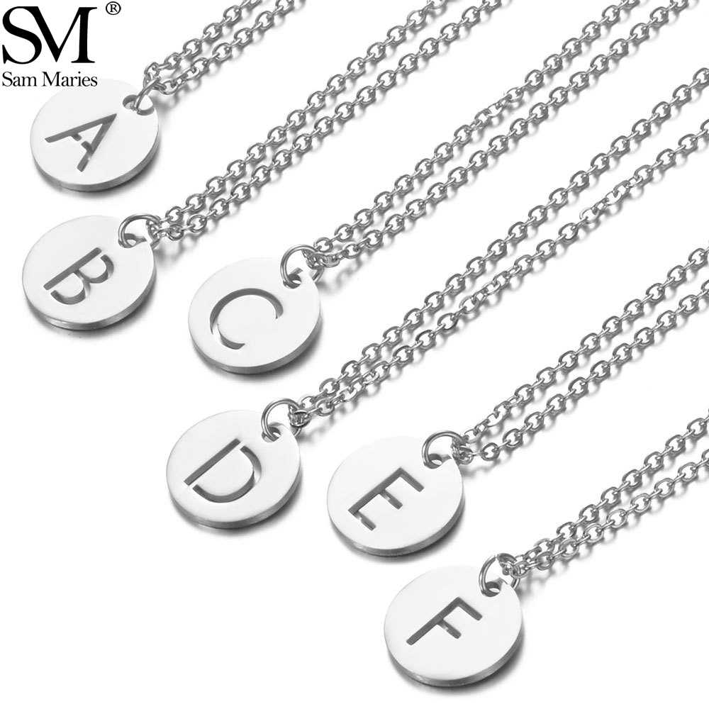 Stainless Steel Initial Letter Charm Necklace Simple Coin Design Hollow A-Z Alphabet Pendant Necklace Women's Jewelry Gift