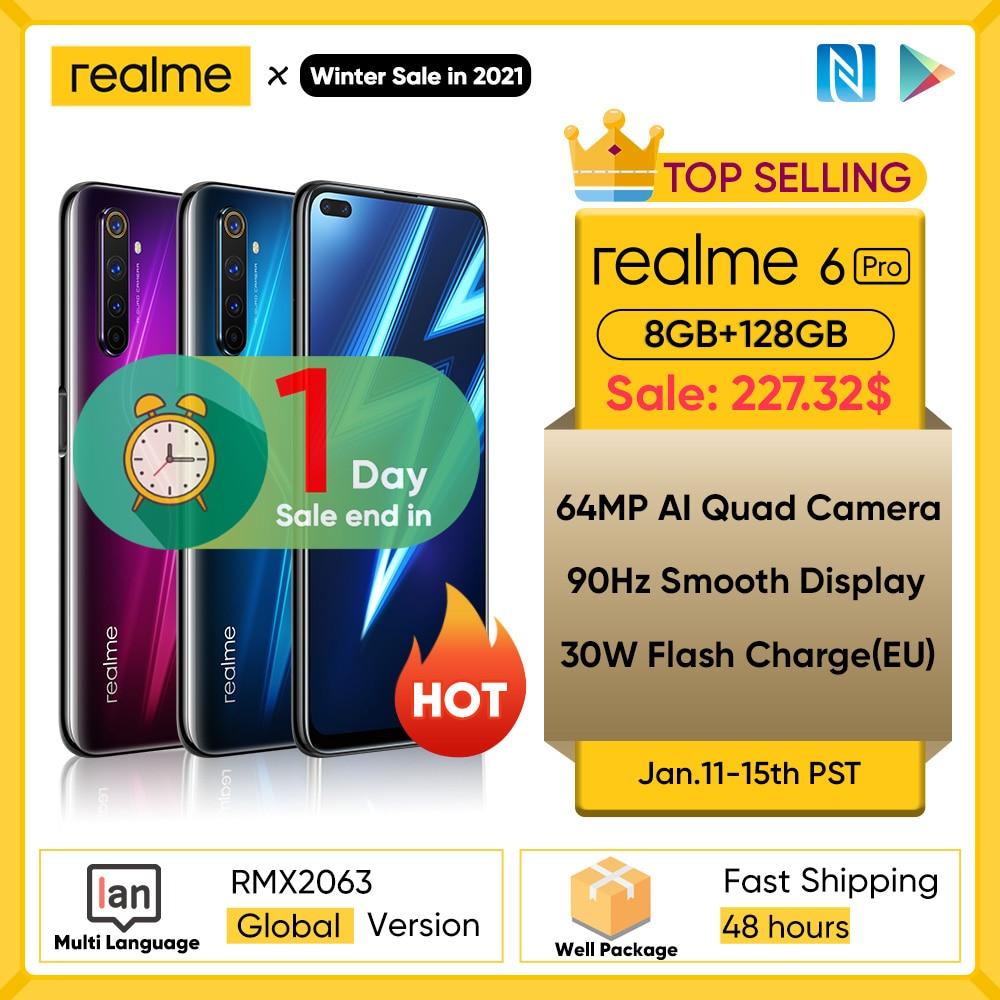 Realme 6 Pro, 8GB + 6,6 GB, Snapdragon 128G, 90Hz, pantalla de 720 pulgadas, cámara de 64MP, Android|Teléfonos móviles| - AliExpress