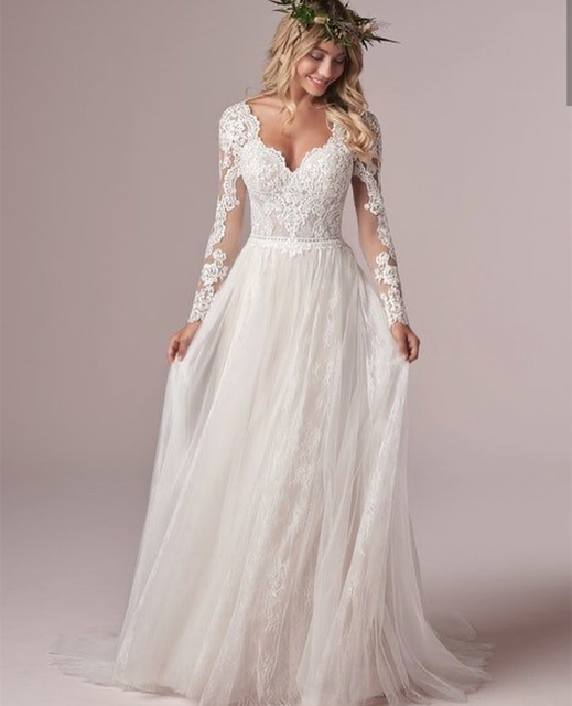 Long Sleeve Wedding Dress With Corset Low Back Floor length Lace Appliques Bridal Gowns White Tulle Organza Graceful V-Neck 3