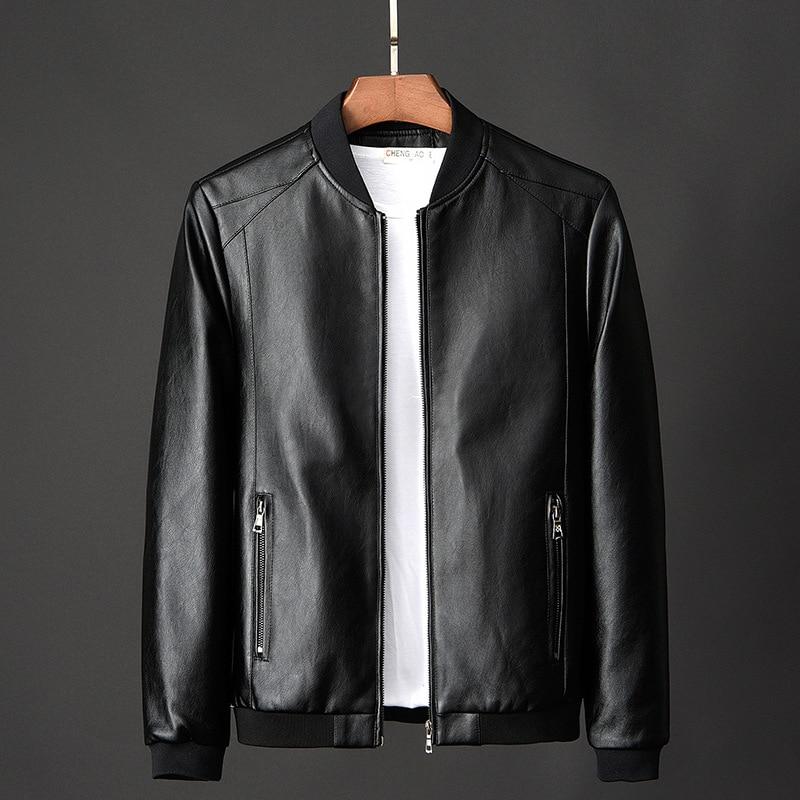 Leather Jacket Bomber Motorcycle Jacket Men Biker PU Baseball Jacket Plus Size 7XL 2020 Fashion Causal Jaqueta Masculino J410