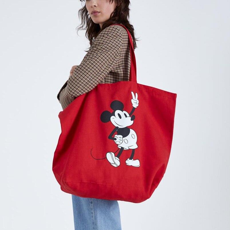 2pcs Lady Shoulder Bag High Capacity Mickey Mouse Canves Handbag Cartoon Shopping Bag Disney Big Bag