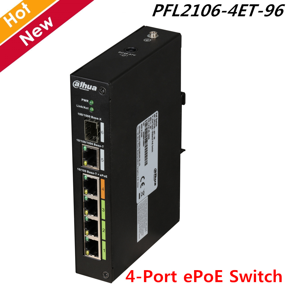 Original Dahua 4-Port EPoE Switch 800m Long Distance PoE Transmission 2-layer Industrial PoE Switch Industrial Wide Temperature