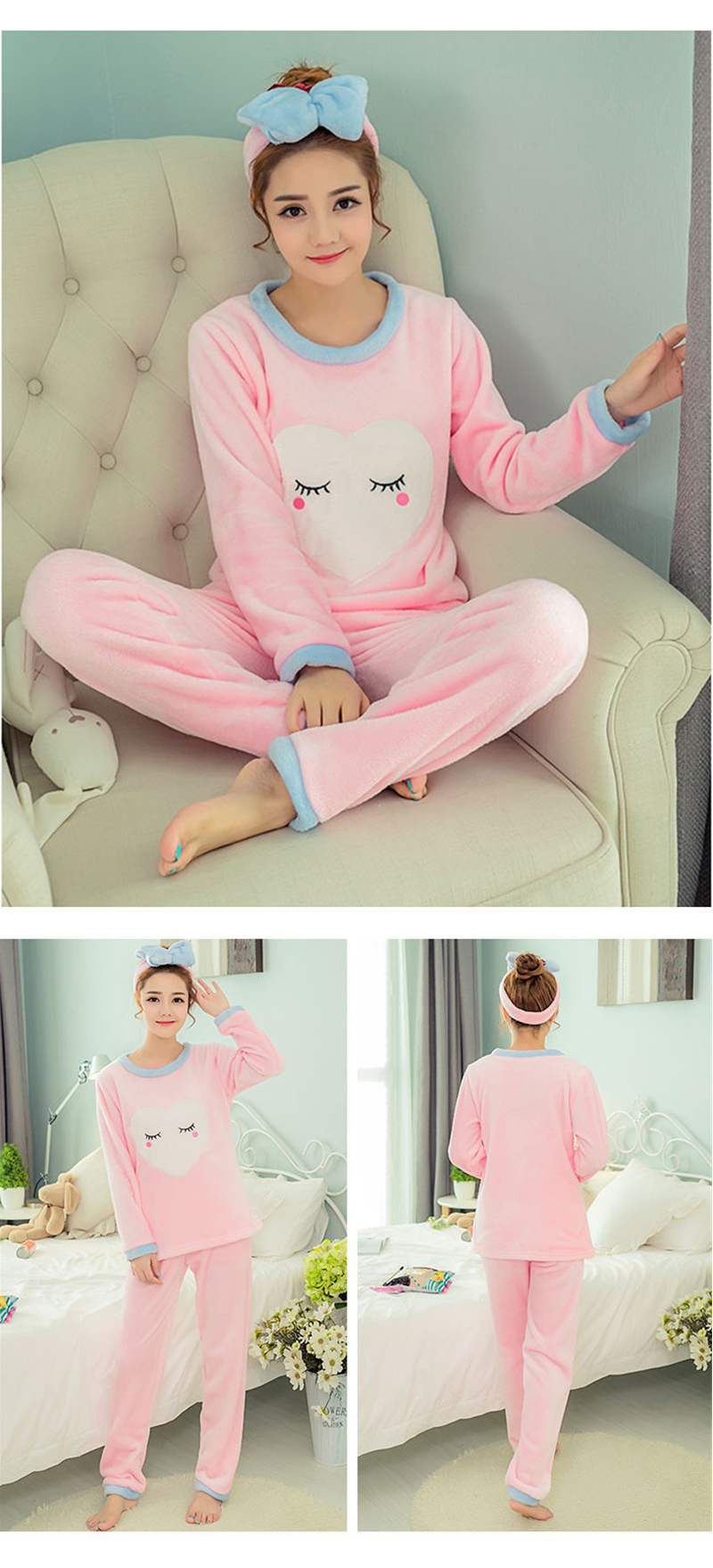 JULY'S SONG Flannel Women Pajamas Sets Autumn Winter Pajamas Cartoon Thick Warm Women Sleepwear Cute Animal Female Homewear 25