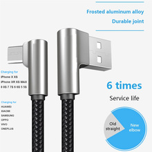 Get more info on the New Charging Cable For iPhone X 8 7 6 2.4A Fast USB TYPE C Charge Cable for Huawei Xiaomi Zinc Alloy Elbow Bent Angle Game Cable