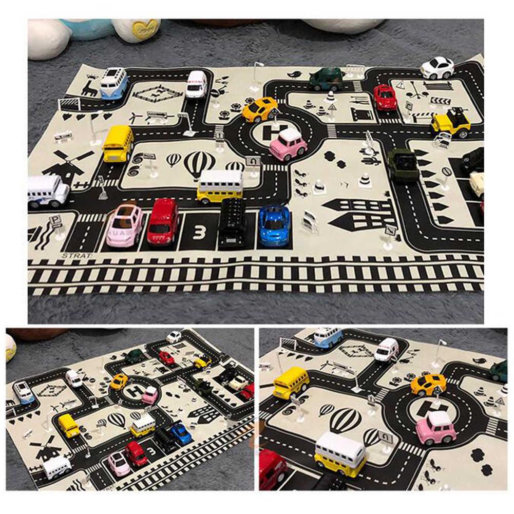 8 esteira do jogo 3x59cm crianças carro cidade estrada tapete sinais de tráfego blocos educação brinquedo play center para crianças