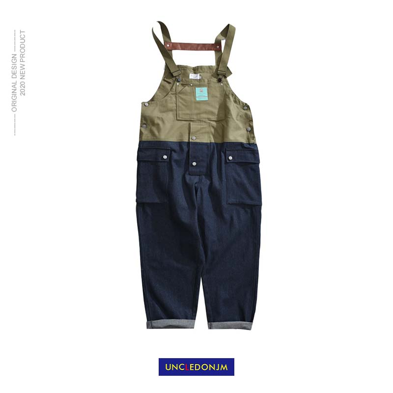 UNCLEDONJM Patchwork Denim Rompers Mens Jumpsuit Cargo Jean Overalls New One Piece Suits Romper Loose Fit Overalls FZ-7028
