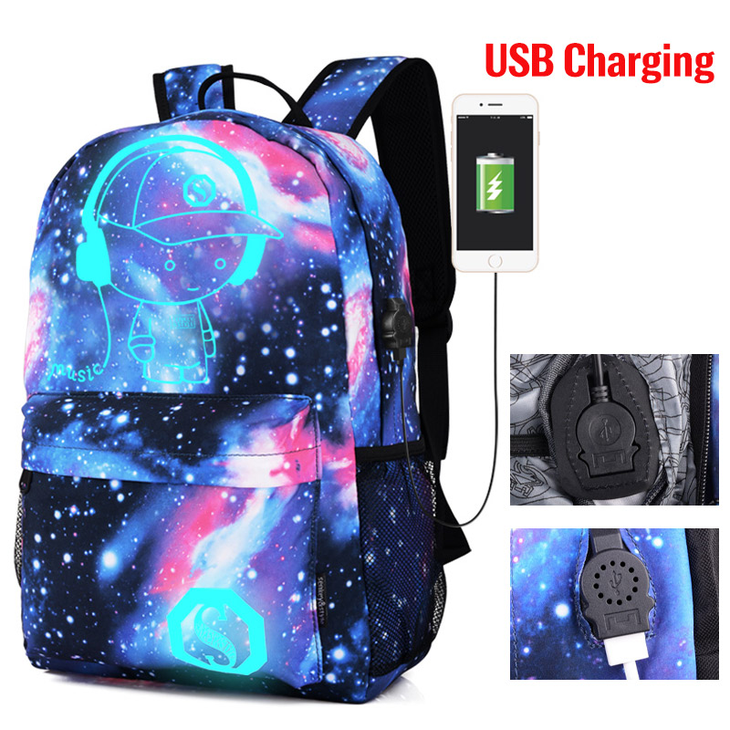 Luminous Student School Bag Anime Laptop Backpack for Boy Girl Daypack with USB Charging Port Anti-theft Lock Camping Travel bag 4