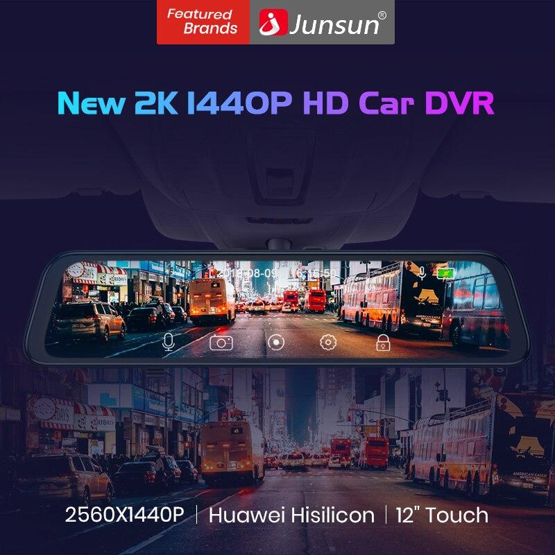 Junsun h166 super hd 2k 1440p huawei hisilicon cpu sony imx 335 câmera do carro dvr traço cam gravador de vídeo espelho retrovisor registrador