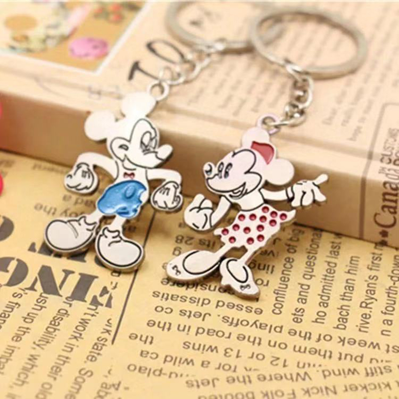 Cute Cartoon Mickeys Mouse Minnie Keychain Couples Key Chain Ring For Women Bag Girl Phone Car Keyring Lovers Jewelry Gifts