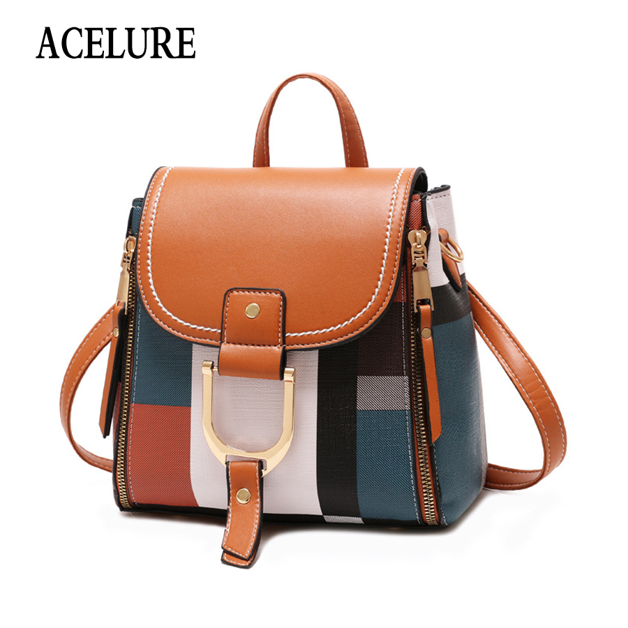 ACELURE Designer Backpacks Women Leather Backpacks Female School BagS For Teenager Girls Travel Back Bag Retro Bagpack Sac A Dos