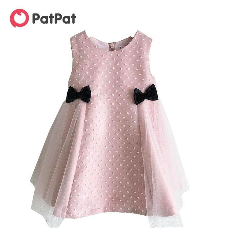 PatPat 2020 nouveau printemps et été bébé filles 0 à 2 ans sans manches noeud maille sans manches robes bébé fille enfants vêtements