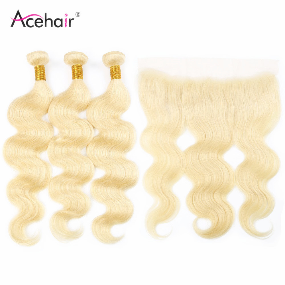 Acehair 613 Bundles With Frontal Closure Body Wave Honey Blonde Brazilan Remy 13x4 Ear To Ear 10-30inch Human Hair Weave