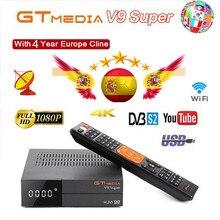 1080p completamente hd gt media v9 super europa cline para 4 anos receptor de tv satélite h.265 wifi mesmo DVB S2 gtmedia v8 nova receptor