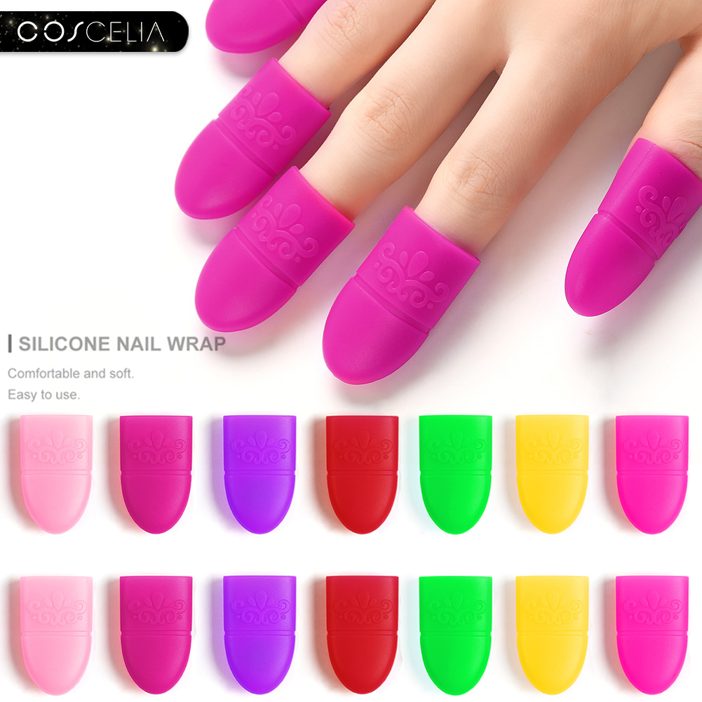 COSCELIA 10Pcs/Lot Silicon Nail Wraps For Removing Gel Varnish Gel Nail Polish Remover Nail Wipes Nail Clips Gel Remover