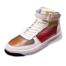 Men Casual Shoes Men Flats Fashion Sneakers Men Boots Spring Autumn Fashion Dazzle Colour Lace-up Ankle Boots Men Shoes vianoch new fashion womens ankle boots casual flats shoes black zip up autumn spring shoe lady size 40 41 42 wo1808101