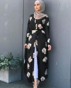Image 3 - Kalenmos Dubai Arab Muslim Abaya Dress Women New Robes Print Floral Slim Long Sleeve Islamic Eid Casual Long Dress Plus Size 5xl