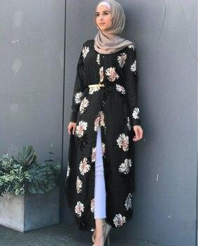 Kalenmos Dubai Arab Muslim Abaya Dress Women New Robes Print Floral Slim Long Sleeve Islamic