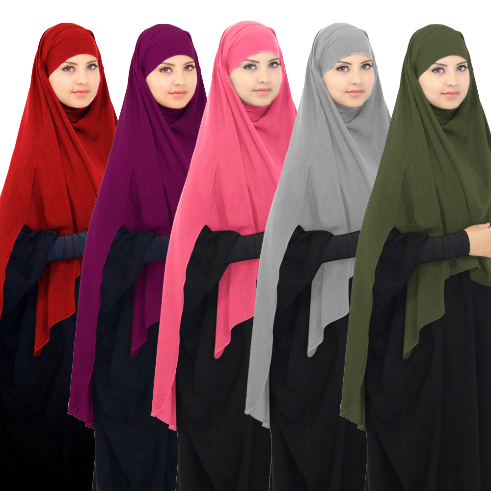 Full Cover Muslim Women One Piece Overhead Hijab Amira Khimar Scarf Pull On Ready Instant Headwrap Niquab Prayer Middle East New