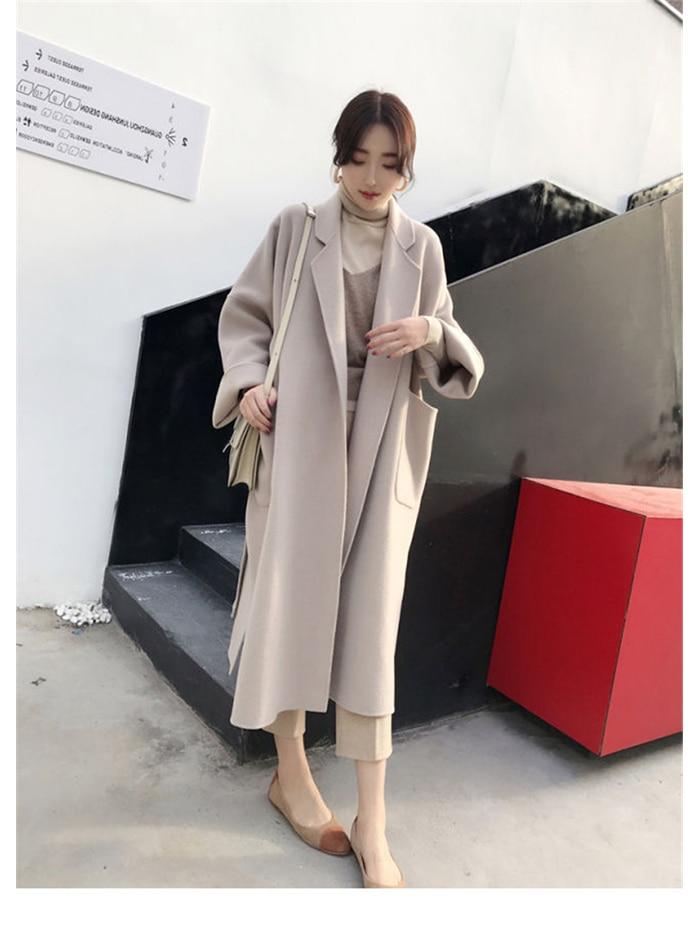Liva girl Long Coat Winter Coat Women Belted Solid Coat Women's Jacket Women's 5 Colors Coat wool Coat 2