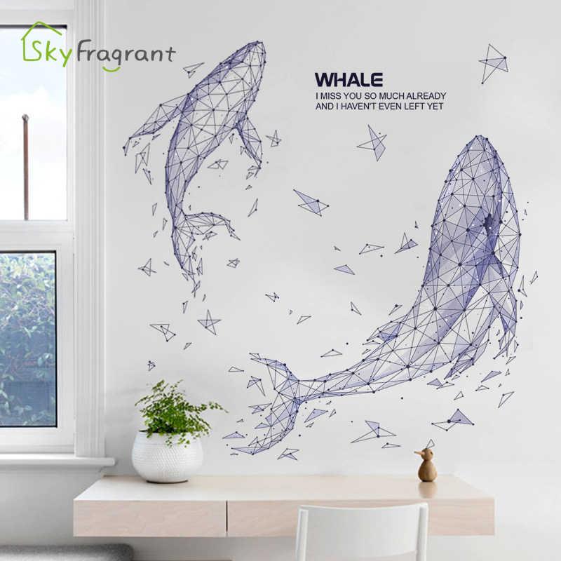 Pegatinas creativas de geometría ins whale, Fondo de sala de estar, decoración de pared, decoración de dormitorio, decoración de pared, Pegatina autoadhesiva