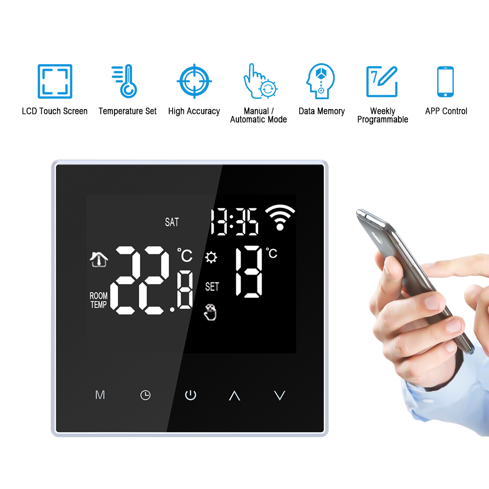 WiFi Smart Thermostat Temperature Controller For Water/Electric Floor Heating Water/Gas Boiler With Large LCD Screen