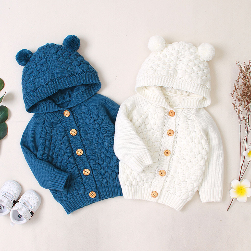 (3M-2Y) Infant and young children ins best-selling children's solid color sweater three-dimensional wool ball hooded sweater S4 1