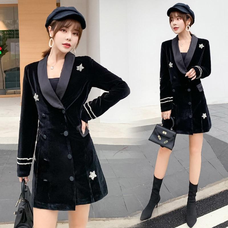 Nouveau velours noir Satin diamant étoiles costume robe femmes 2019 automne dames élégant Double boutonnage à manches longues robes de bureau - 6