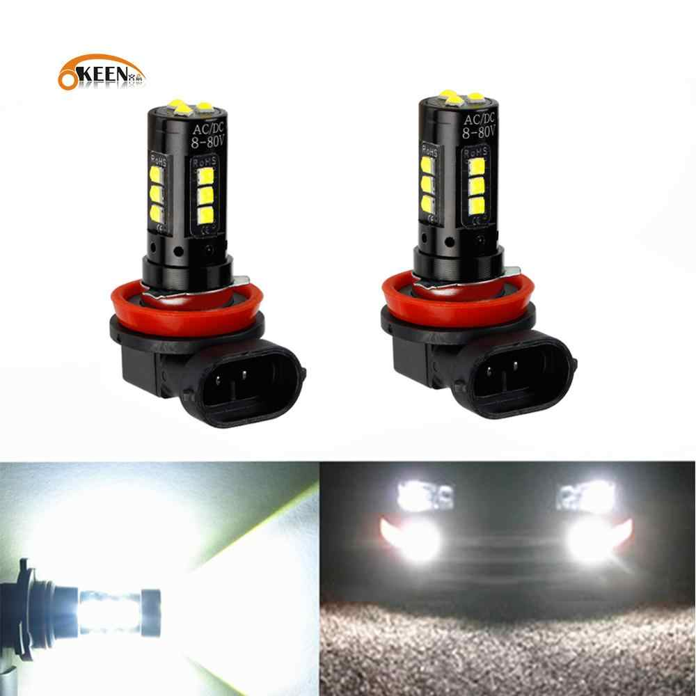 2Pcs Super Heldere Auto Led Lamp Mistlamp H9 H8 H11 Led 9005 9006 HB3 H4 H7 3030 15SMD running Light 6000K 12V Running Light