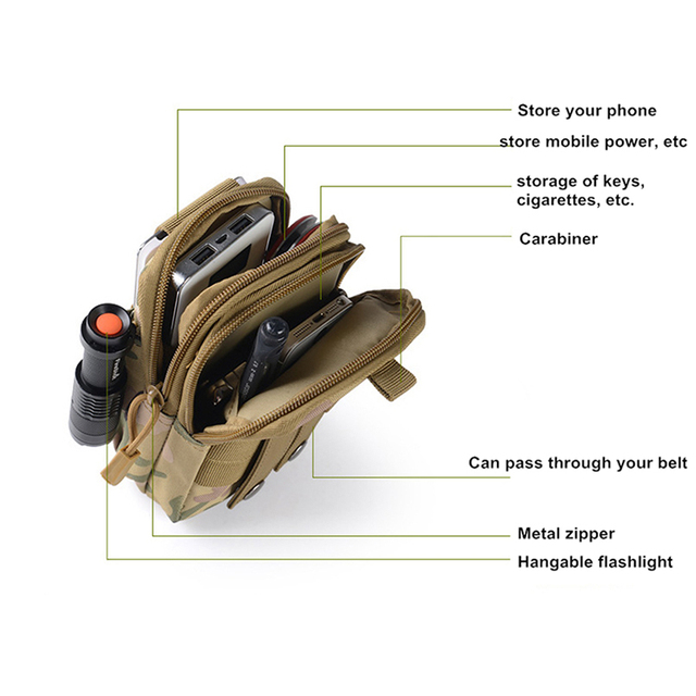 Outdoor Military Tactical Bag Waterproof Camping Waist Belt Bag Sports Army Backpack Wallet Pouch Phone Case For Travel Hiking 4